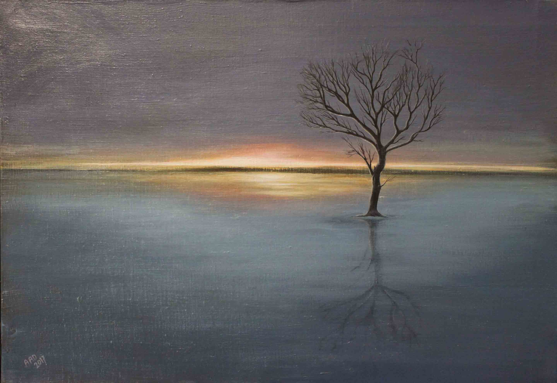 eenzame boom in water