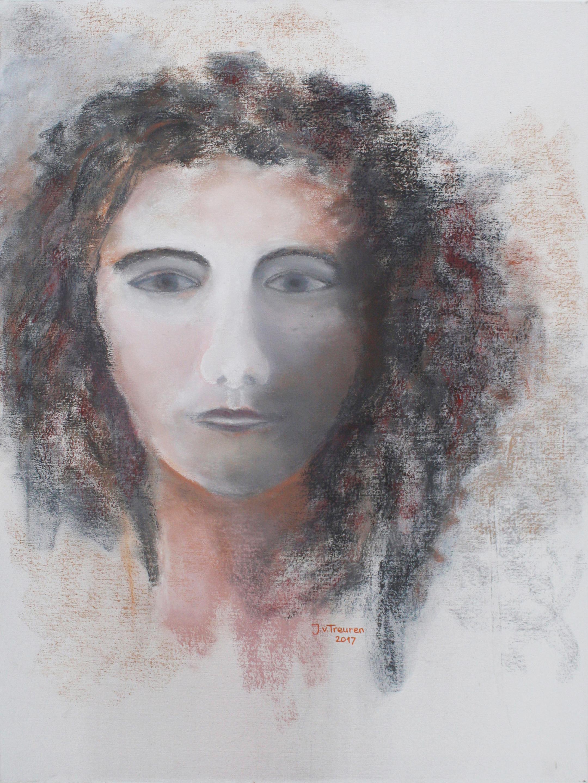 Oosterse godin, pastel,, 2017