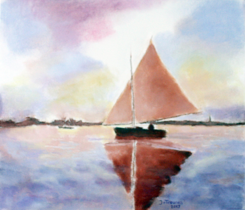 zeilboot, 60 x 70 cm pastel, 2017