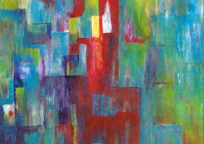Carla Boomkamp,  Gekleurde stad, acryl 80 x 60 cm,