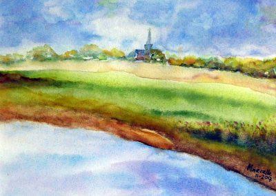 Marcelle de Haan, Kerkje, aquarel 30 x 25 cm