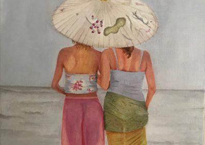 Nelly Cost, Zusjes aan zee, olieverf op doek 60 x 90 cm