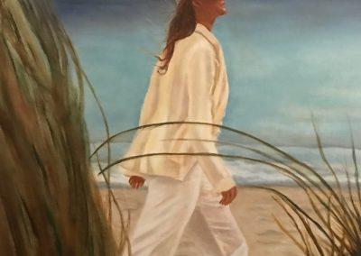Nelly Cost, De haren in de wind, olieverf op doek, 60 x 90 cm