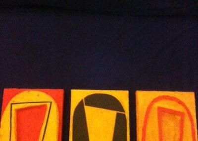 Ria van Kooten, Silhouet, materie op doek, 20x20cm