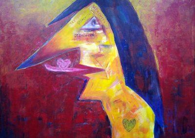 Carla Boomkamp, Hart op de tong, acryl, 70x 70 cm