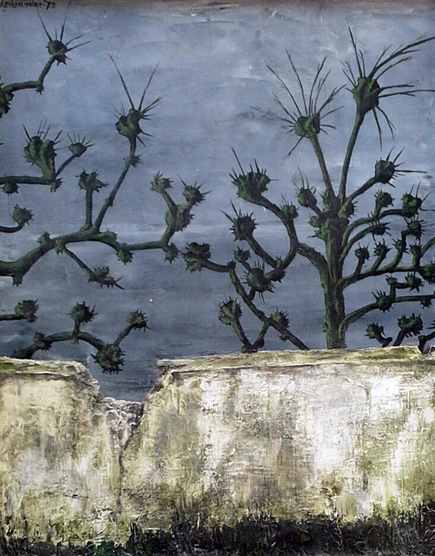 Muur kerkhof, olieverf, 50 x 60 cm