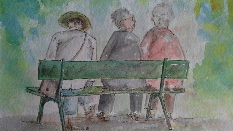 Voorhout den Haag, aquarel, 40 x 50 cm