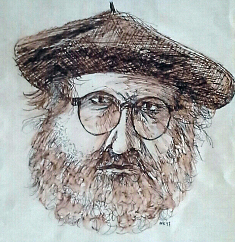 Zelfportret, pentekening in sepia, 30 x 40 cm