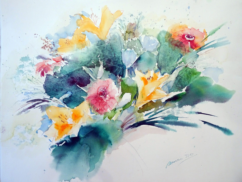 Boeket met lelies, aquarel