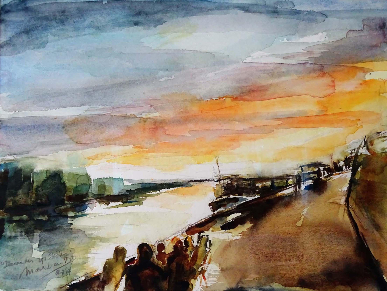Zonsondergang aan de IJsel, aquarel