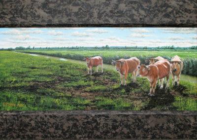 Cees Mudde, ' Blonde aquitaines, Oude Land van Strijen ', 40 x 80 acrylverf