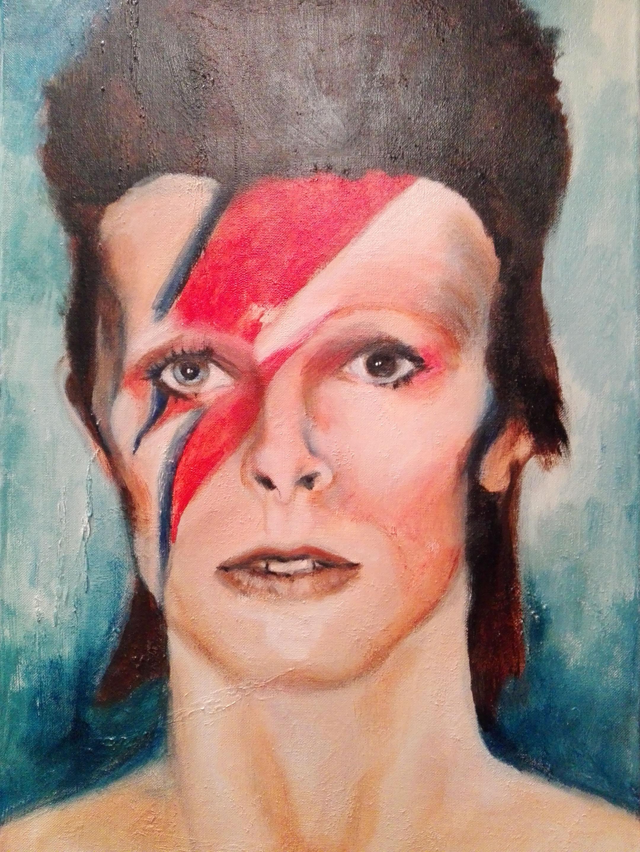 Marijke Dijkman, David Bowie, acryl op doek