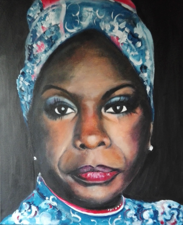 Marijke Dijkman, Nina Simone, acryl op doek